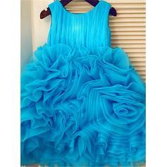 Escote redondo Corte de baile Vestidos para niña de arras Organdí Volantes Sin mangas Hasta la rodilla (010211861)