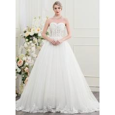 Princess Tulle Wedding Dresses Ball-Gown Court Train Sweetheart Sleeveless