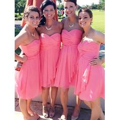 A-Line/Princess Chiffon Bridesmaid Dresses Ruffle Sweetheart Sleeveless Knee-Length