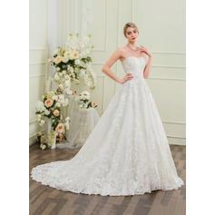 Encaje Corte de baile con Lujoso General Grande Vestidos de novia (002095854)