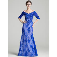 Trumpet/Mermaid Lace 1/2 Sleeves Off-the-Shoulder Floor-Length Zipper Up Mother of the Bride Dresses