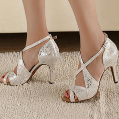 Women's Latin Heels Pumps Satin With Ankle Strap Dance Shoes