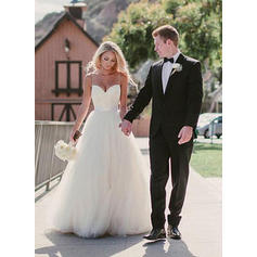 A-Line/Princess Sweetheart Sweep Train Wedding Dresses With Sash (002148063)