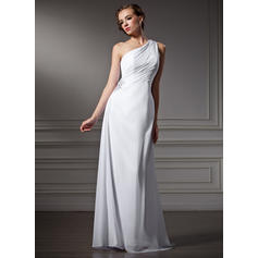 Elegante Barrer/Cepillo tren Un hombro Vestido tubo Gasa Vestidos de novia