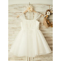 A-Line/Princess Knee-length Flower Girl Dress - Tulle/Lace Sleeveless Straps With Beading (010104946)