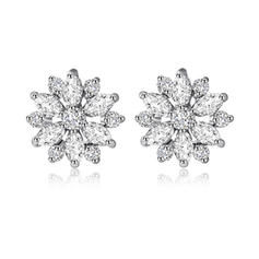 Earrings Zircon/Platinum Plated Pierced Ladies' Snowflakes Shaped Wedding & Party Jewelry