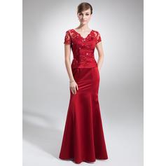 Trumpet/Mermaid Satin Short Sleeves V-neck Floor-Length Zipper Up Mother of the Bride Dresses
