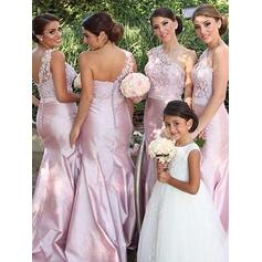 Floor-Length One-Shoulder Trumpet/Mermaid Satin Bridesmaid Dresses