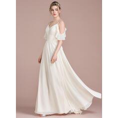 A-Line/Princess Floor-Length Chiffon Bridesmaid Dress With Cascading Ruffles
