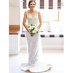 Simple Court Train Sheath/Column Wedding Dresses Scoop Satin