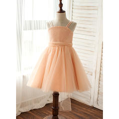 A-Line/Princess Straps Knee-length With Sequins Tulle/Sequined Flower Girl Dresses