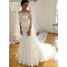 3/4 Length Sleeves A-Line/Princess - Lace Wedding Dresses (002217845)
