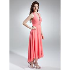 7761e39bba A-Line Princess Chiffon Bridesmaid Dresses Ruffle Beading Halter Sleeveless  Asymmetrical (007001145)  maroon color bridesmaid dresses ...