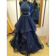 Tulle Sleeveless A-Line/Princess Prom Dresses Halter Ruffle Beading Sequins Floor-Length