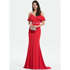 Trumpet/Mermaid V-neck Sweep Train Jersey Prom Dresses With Lace Beading Sequins Cascading Ruffles (018175950)