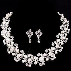 Conjuntos de jóias Liga/Falso pérola Cristal austríaco Fecho da lagosta Perfurado Jóias de Casamento & Festa