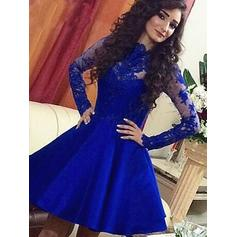 Stunning Satin Homecoming Dresses A-Line/Princess Short/Mini Scoop Neck Long Sleeves