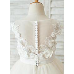 Forme Princesse Longueur genou Robes à Fleurs pour Filles - Satiné/Tulle Sans manches Col rond avec Fleur(s) (010153238)
