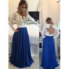 A-Line/Princess V-neck Floor-Length Prom Dresses With Beading Sequins