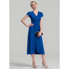 A-Line V-neck Asymmetrical Jersey Mother of the Bride Dress With Ruffle (008107637)