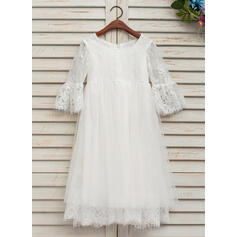 Forme Princesse Longueur cheville Robes à Fleurs pour Filles - Dentelle 1/2 manches Col rond (010132406)