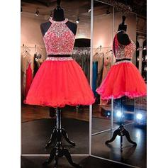 Beading A-Line/Princess Short/Mini Tulle Homecoming Dresses (022216230)