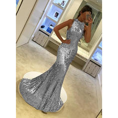 Sequined Trumpet/Mermaid Elegant Evening Dresses Sleeveless