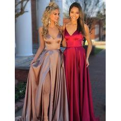 A-Line/Princess V-neck Charmeuse Sleeveless Sweep Train Ruffle Split Front Evening Dresses