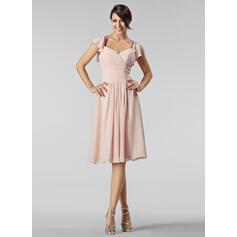 A-Line/Princess Sweetheart Knee-Length Chiffon Bridesmaid Dress With Beading Cascading Ruffles (007005233)