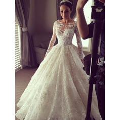 Princess Chapel Train Ball-Gown Wedding Dresses Scoop Lace Long Sleeves