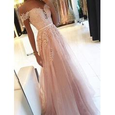 A-Line/Princess Off-the-Shoulder Floor-Length Prom Dresses With Sash Appliques Lace