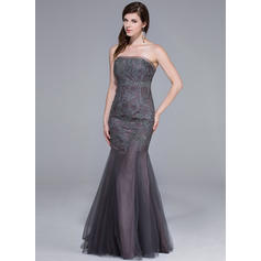 Magnificent Tulle Evening Dresses Trumpet/Mermaid Floor-Length Strapless Sleeveless
