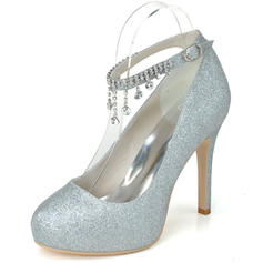 Women's Closed Toe Platform Pumps Sparkling Glitter With Rhinestone Tassel Wedding Shoes