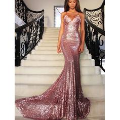 Trumpet/Mermaid Court Train Prom Dresses V-neck Sequined Sleeveless (018146576)