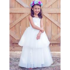 Forme Princesse Longueur ras du sol Robes à Fleurs pour Filles - Tulle/Coton Sans manches Col rond (010089508)