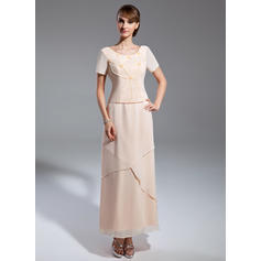 Princess Scoop Neck A-Line/Princess Chiffon Mother of the Bride Dresses (008211381)