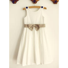 Chic Scoop Neck A-Line/Princess Flower Girl Dresses Knee-length Cotton Sleeveless (010196738)