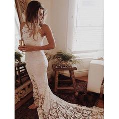 Elegant Chapel Train Trumpet/Mermaid Wedding Dresses Halter Lace Sleeveless