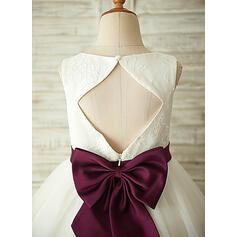 Vestidos princesa/ Formato A Coquetel Vestidos de Menina das Flores - Tule/Renda Sem magas Decote redondo com Cintos/Curvado/Buraco de volta (Faixa desmontável)