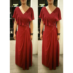 A-Line/Princess V-neck Chiffon Short Sleeves Floor-Length Beading Mother of the Bride Dresses