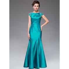 Trumpet/Mermaid Taffeta Short Sleeves Scoop Neck Floor-Length Zipper Up Mother of the Bride Dresses (008041139)