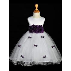 Ball Gown Scoop Neck Tea-length With Sash/Flower(s)/Bow(s) Satin Flower Girl Dresses