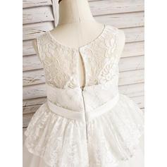 Forme Princesse Longueur mollet Robes à Fleurs pour Filles - Tulle/Dentelle Sans manches Col rond avec À ruban(s) (010091409)