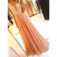 Sweep Train A-Line/Princess With Chiffon Evening Dresses