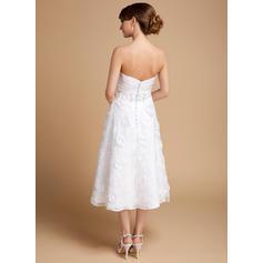 43207eaa312a ... una linea abiti da sposa. Increspature Perline Fiori Paillettes Senza  maniche Scollo a cuore Del organza Pizzo A-Line