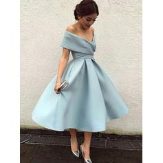 Tea-Length Off-the-Shoulder Satin Beautiful Cocktail Dresses