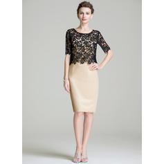 Nuevo de 2019 Hasta la rodilla Vestido tubo Satén Vestidos de madrina (008211131)