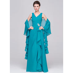 A-Linie/Princess-Linie V-Ausschnitt Chiffon Ärmellos Bodenlang Perlstickerei Gestufte Rüschen Kleider für die Brautmutter