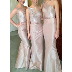 One-Shoulder Sleeveless Satin Beautiful Bridesmaid Dresses