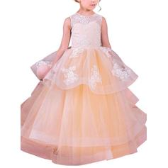 Simple Floor-length Ball Gown Flower Girl Dresses Scoop Neck Organza Sleeveless